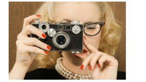 retro woman taking picture