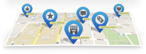 local SEO map - ratings, shares, reviews, coupons, deals
