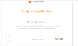 Google analytics certificate Michelle Farrell