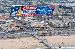 airplane banner ad over the Santa Monica beach