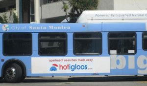 local business ad on Santa Monica Big Blue Bus