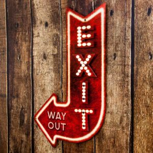 exit sign, way out neon sign to represent why people leave or bounce your website