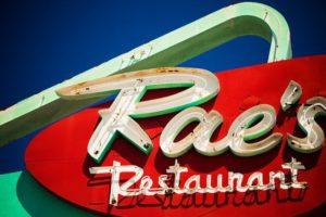 Rae's restaurant neon sign West Los Angeles