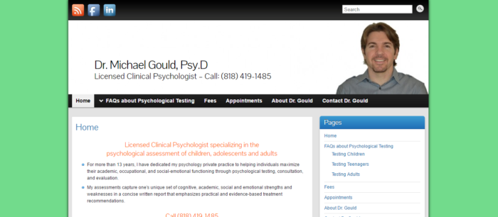 Psychologist Doctor website design