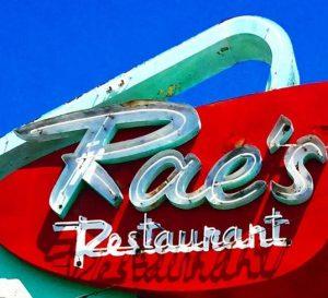 raes neon sign Santa Monica restaurant