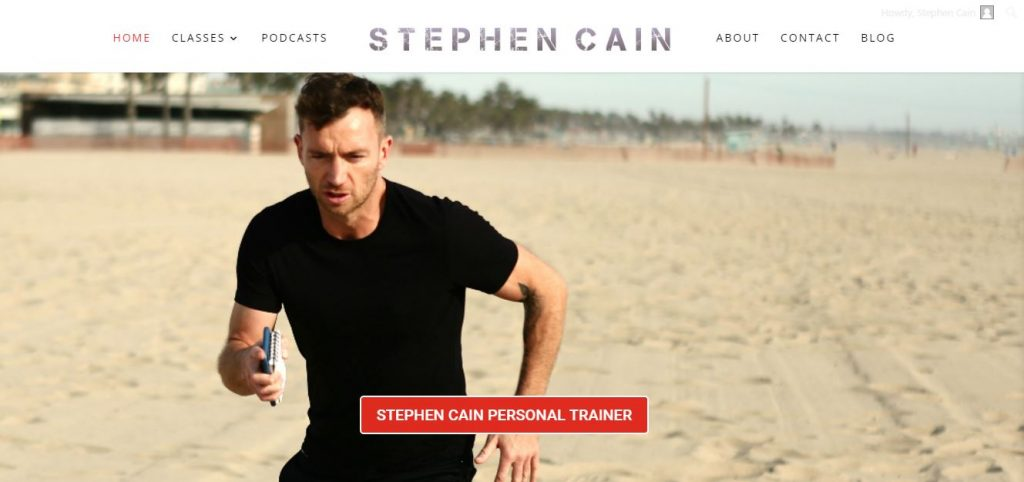 Website designed for a personal fitness trainer in Los Angeles