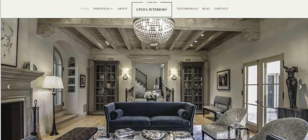 portfolio website built fro an interior designer in Brentwood California