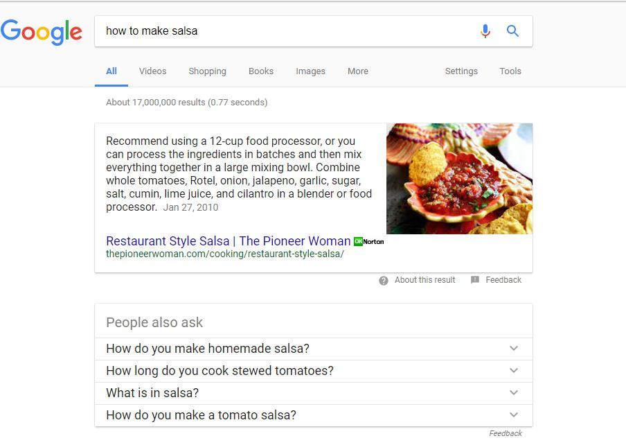 Google featured snippet screen shot for how to make salsa query