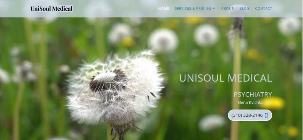 Website screenshot of a Torrance psychiatrist website built by I Aint Your Momma