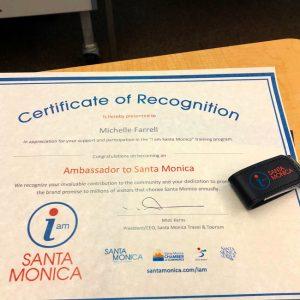 Ambassador of Santa Monica Certificate from santamonica.com