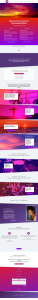 Website design with gradient colors and image overalys