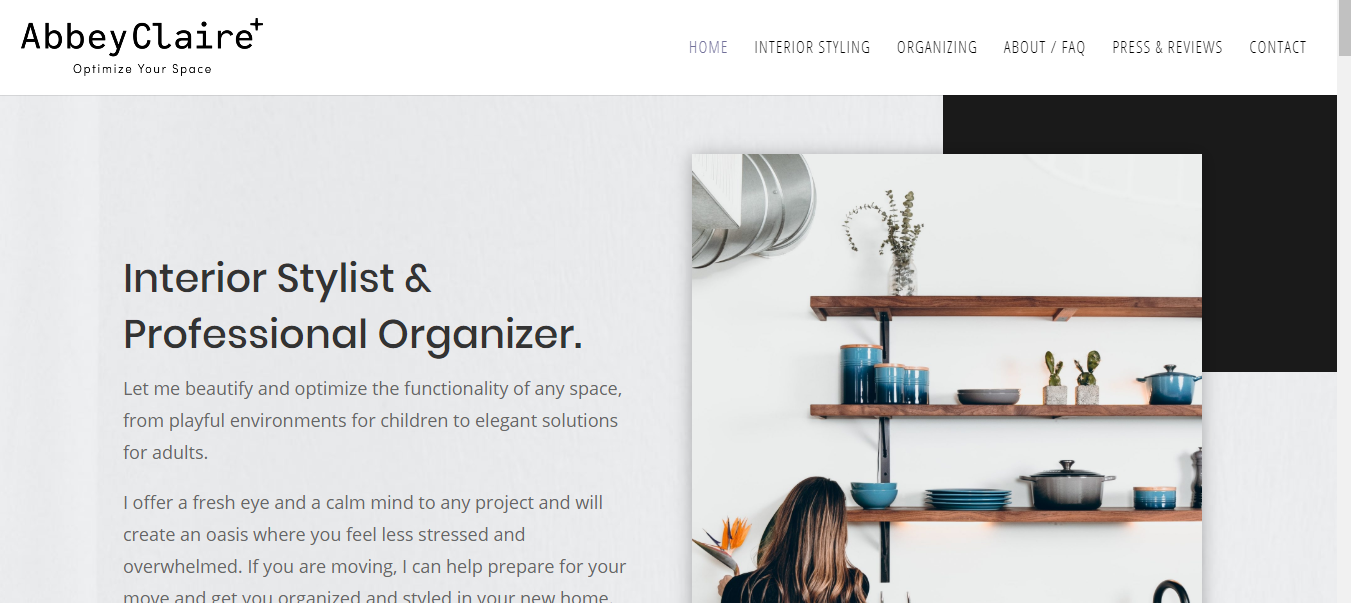Clean and modern grey interior design company website