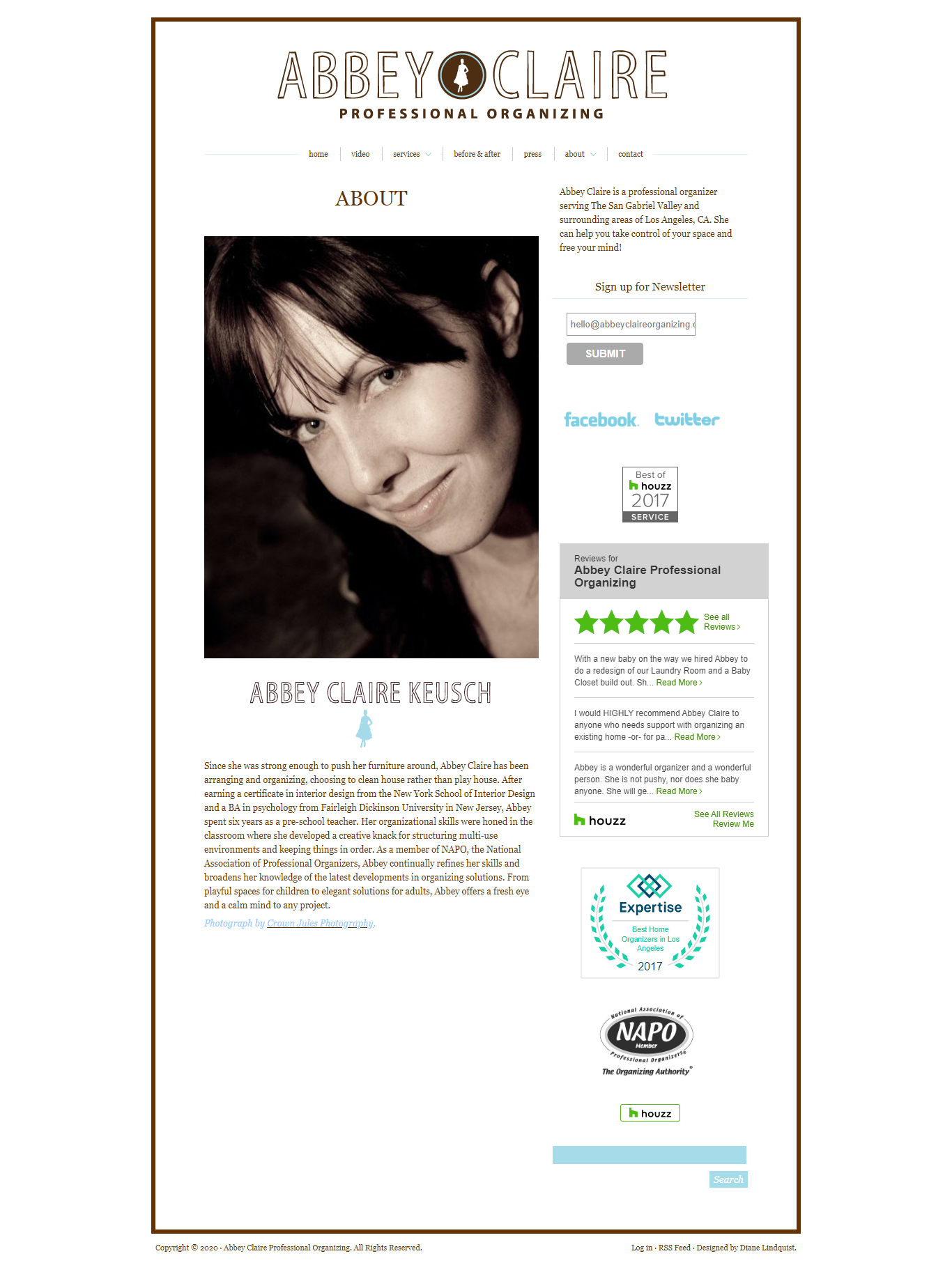 contact page of old and unattractive website before redesign by Michelle Farrell