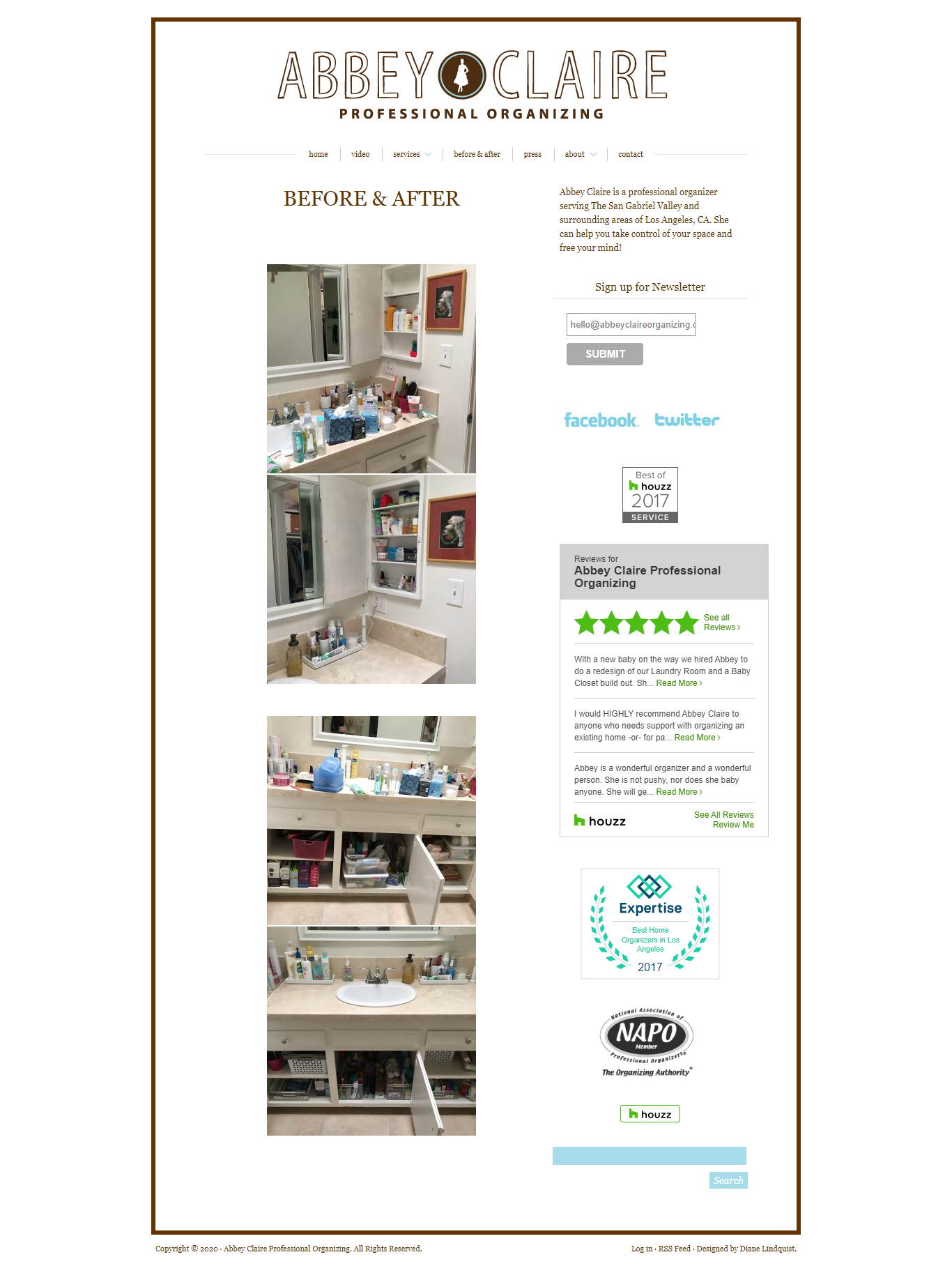 Portfolio  page of old and unattractive website before redesign by Michelle Farrell