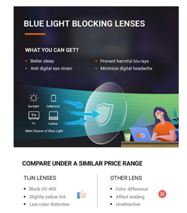 Blue light blocking lenses for computer and gaming