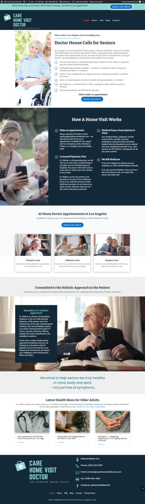 screenshot of homepage of new website design for doctor in Los Angeles