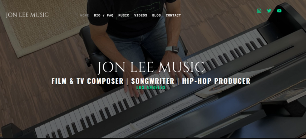 Music producer in Santa Monica website home page design
