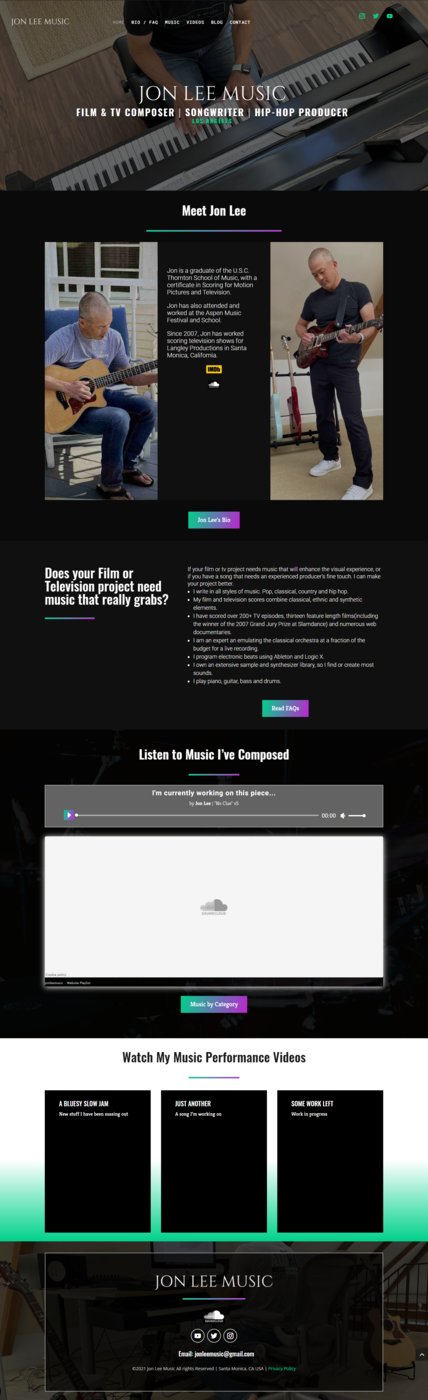 Jon Lee Music screenshot of home page after new design of website