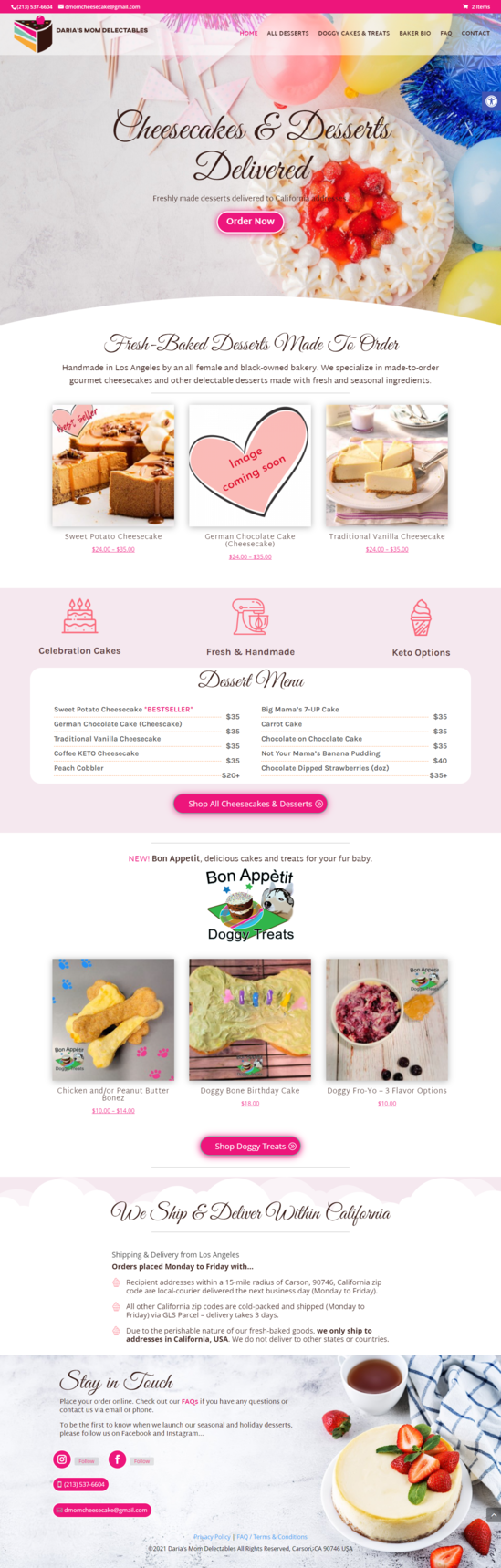 screencapture of a bakery website built in WordPress for Carson Bakery